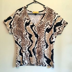St John L Snakeskin Print Top Yellow Label Sh Sl